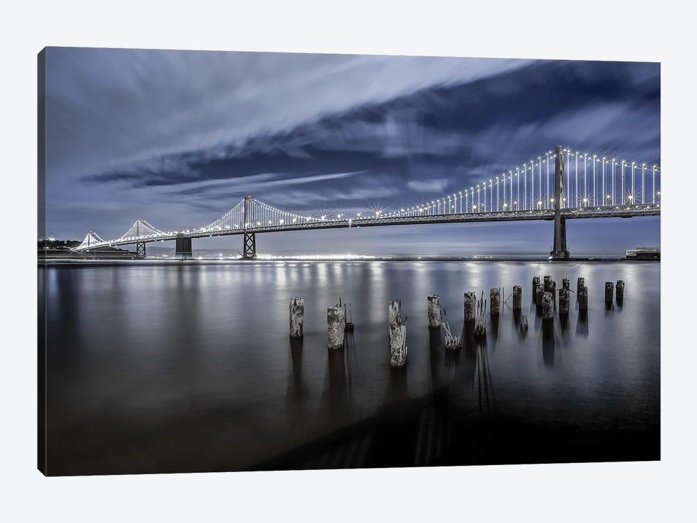 The Bay Bridge Lights San Francisco by Toby Harriman 1-piece Canvas Art