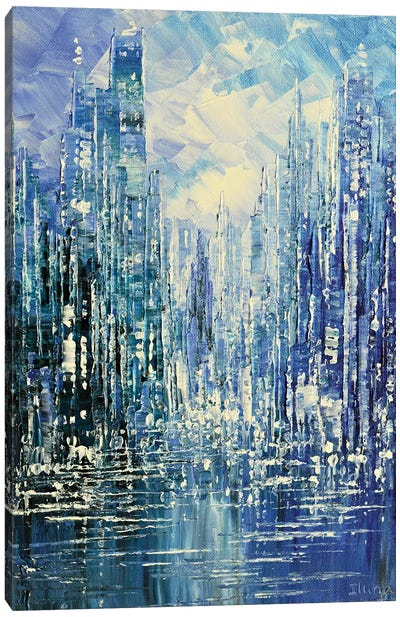Blue Rain by Tatiana Iliina Canvas Art Print