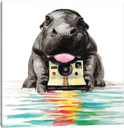 Baby Hippo Canvas Art Print