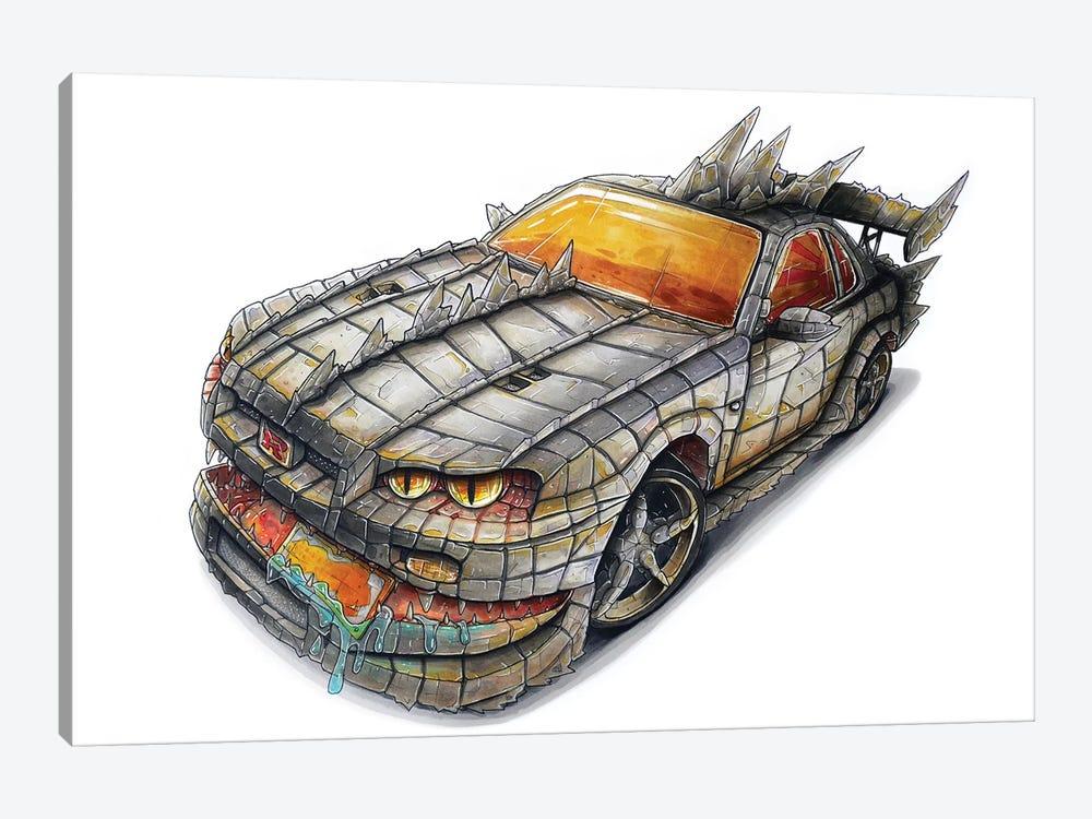 Godzilla Car by Tino Valentin 1-piece Art Print