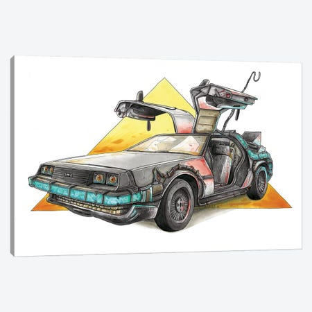 DeLorean 3-Piece Canvas #TIV15} by Tino Valentin Canvas Art Print