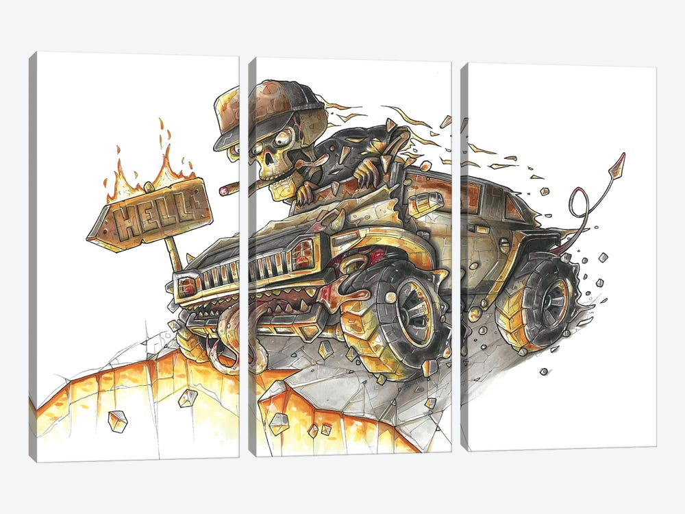Hummer Hell by Tino Valentin 3-piece Canvas Art Print