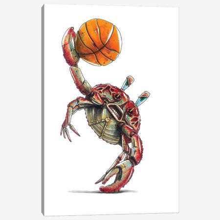 Red Crab Canvas Print #TIV33} by Tino Valentin Canvas Artwork