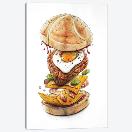 Blast Burger 3-Piece Canvas #TIV8} by Tino Valentin Art Print