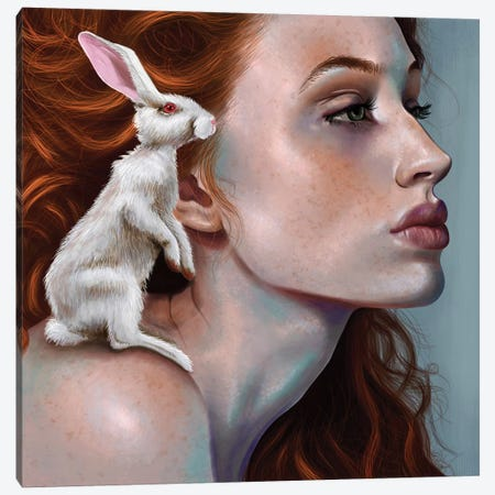 Rabbit Girl Canvas Print #TJE34} by Teodora Jelenic Canvas Artwork