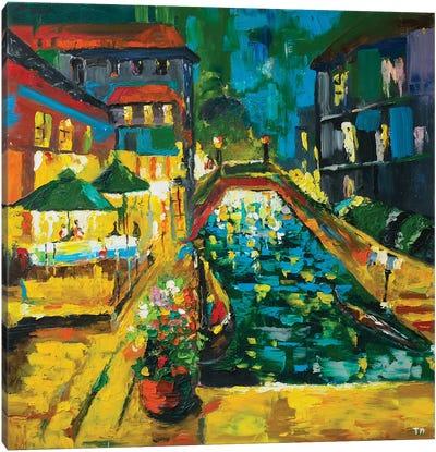 Evening Cafe Canvas Art Print