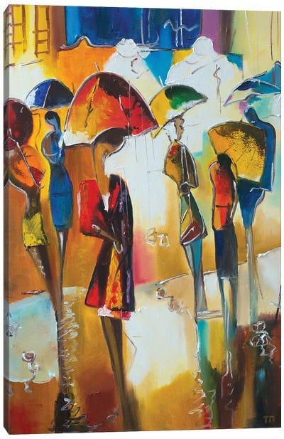 Walking In The Rain Canvas Art Print