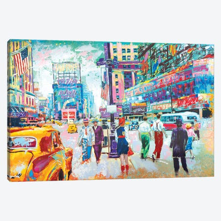 Happy New York 1950s Canvas Print #TKA15} by Tadaomi Kawasaki Art Print