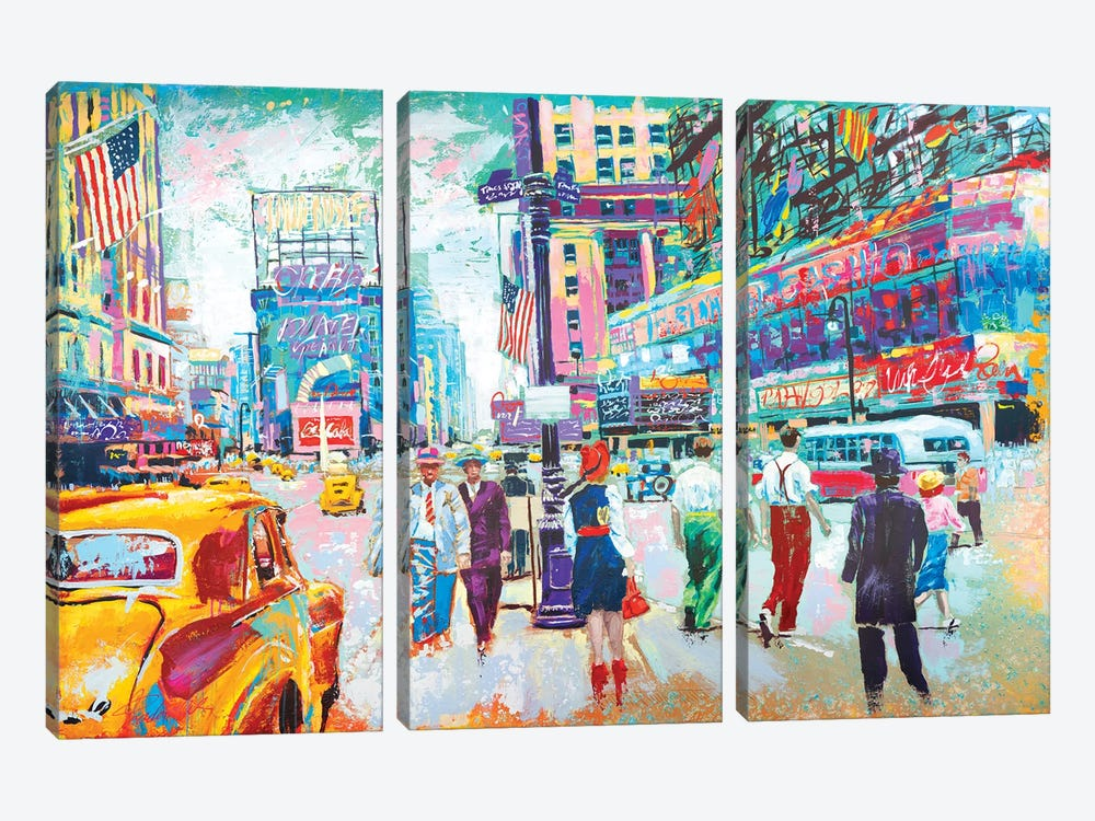 Happy New York 1950s by Tadaomi Kawasaki 3-piece Canvas Artwork
