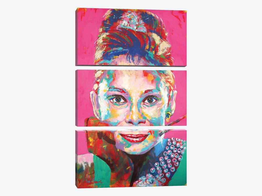 Audrey Hepburn I by Tadaomi Kawasaki 3-piece Canvas Artwork