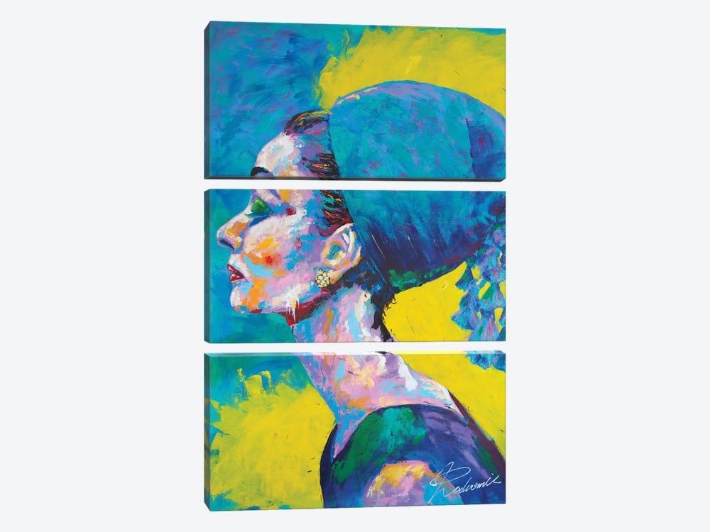 Audrey Hepburn II by Tadaomi Kawasaki 3-piece Canvas Print
