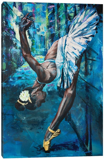 A Swan In The Backstreet Canvas Art Print