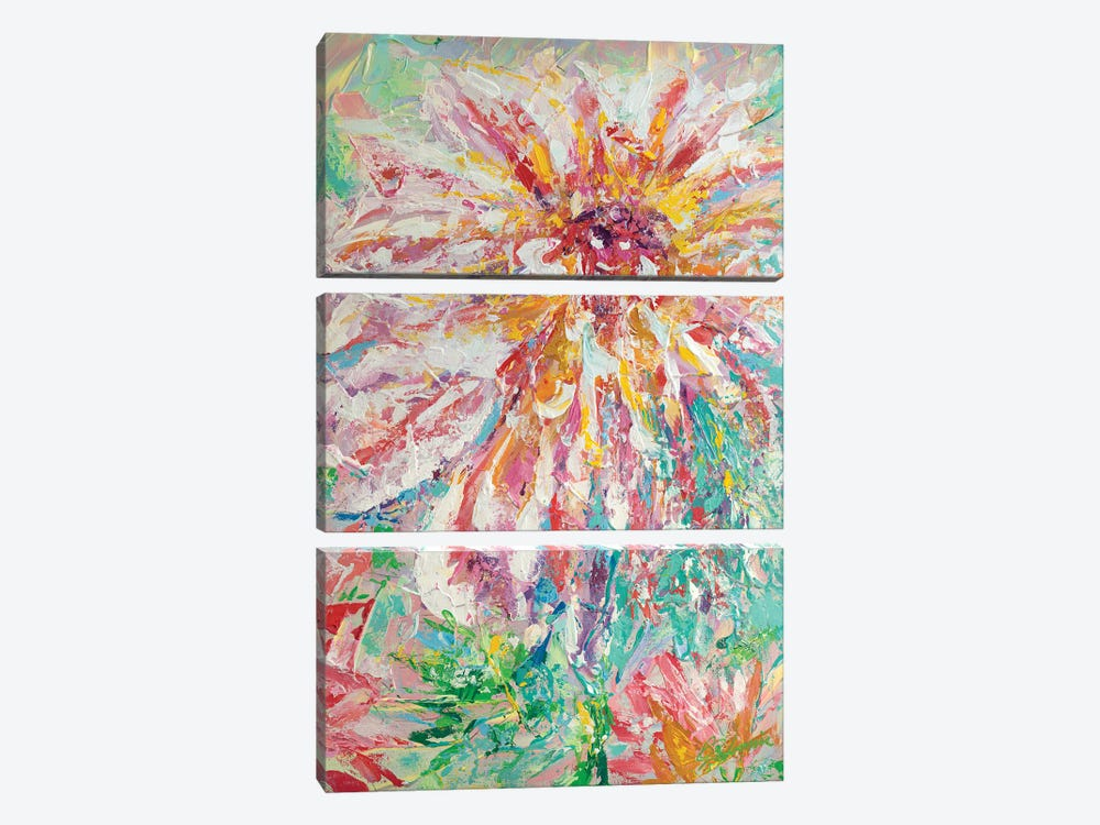 Abstracted Dahlia by Tadaomi Kawasaki 3-piece Canvas Wall Art