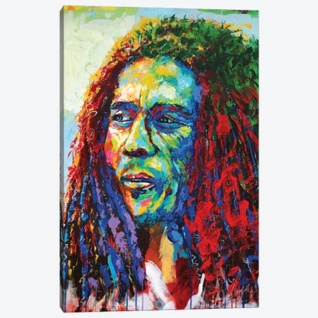 Bob Marley Canvas Print #TKA5} by Tadaomi Kawasaki Canvas Artwork