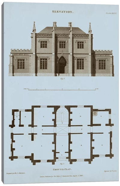 Chambray House & Plan V Canvas Art Print