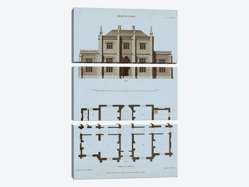 Chambray House & Plan V by Thomas Kelly 3-piece Canvas Print