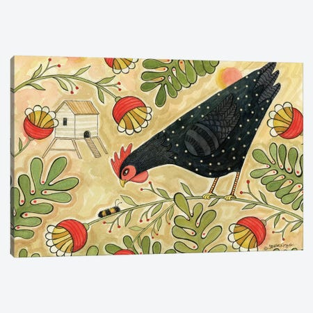 Hello Black Hen Canvas Print #TKG107} by Teresa Kogut Canvas Wall Art