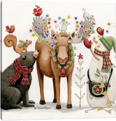 Lit Moose Canvas Art Print