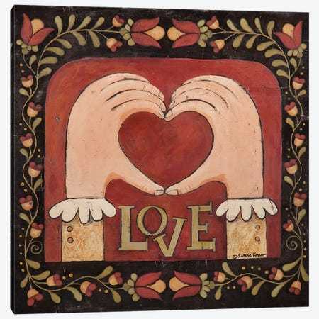 Love Hands Canvas Print #TKG120} by Teresa Kogut Art Print