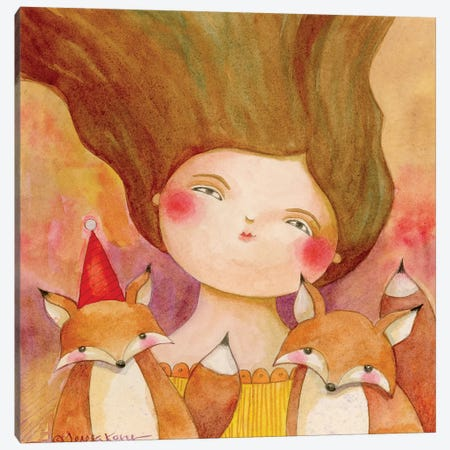 My Two Foxes Canvas Print #TKG139} by Teresa Kogut Canvas Artwork