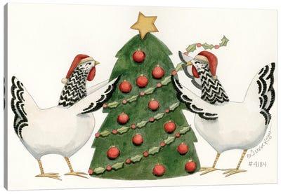 Tree Trimmin' Chicks Canvas Art Print