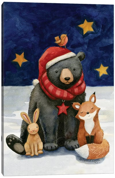 Black Bears Buds Canvas Art Print