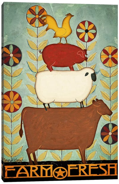 Farm Fresh Animal Stack Canvas Art Print