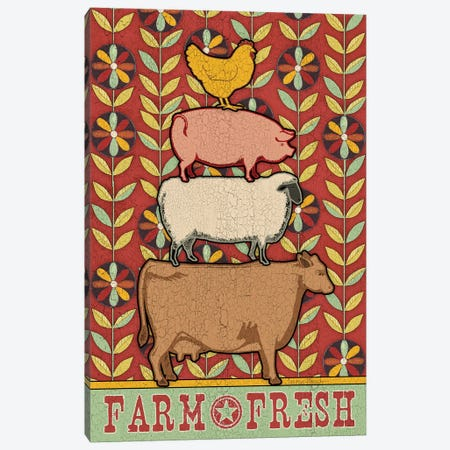 Farm Fresh Animal Stack Flat Canvas Print #TKG56} by Teresa Kogut Art Print