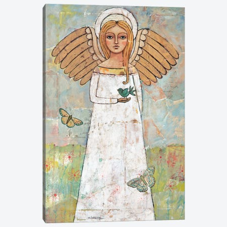 Angel From The Meadow With Bird Canvas Print #TKG5} by Teresa Kogut Canvas Artwork