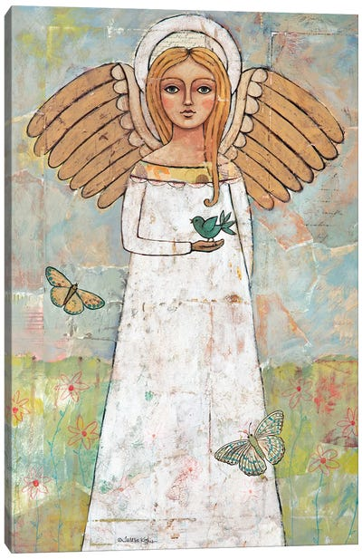 Angel From The Meadow With Bird Canvas Art Print