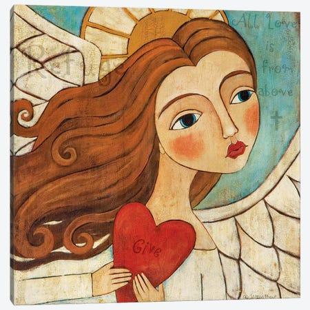 Angel In Blue With Word Canvas Print #TKG6} by Teresa Kogut Canvas Wall Art