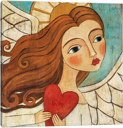 Angel In Blue With Word Canvas Art Print