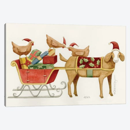 Goat With Cart Of Chicken Gifts Canvas Print #TKG97} by Teresa Kogut Art Print