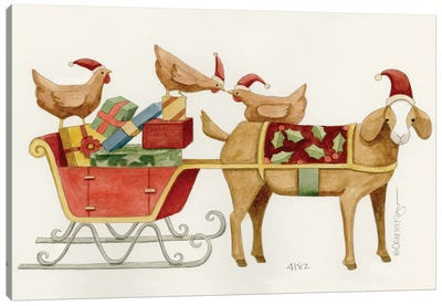 Goat With Cart Of Chicken Gifts Canvas Art Print