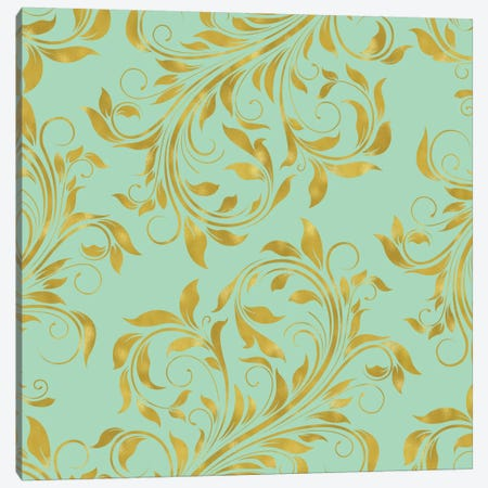 Golden Mint Damask I Canvas Print #TLA10} by Tina Lavoie Art Print