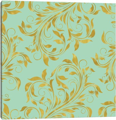 Golden Mint Damask I Canvas Art Print