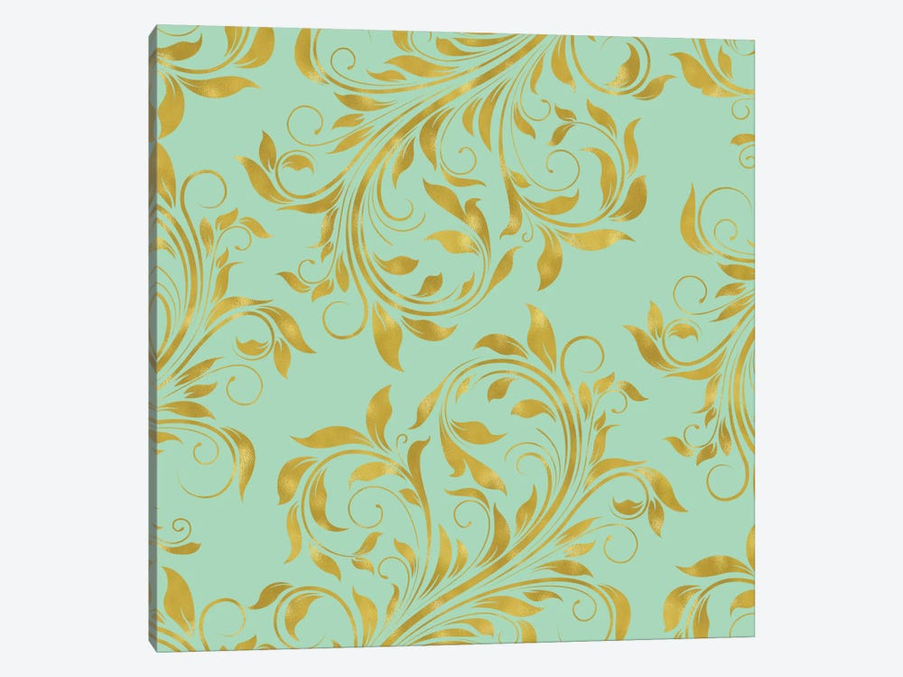 Golden Mint Damask I by Tina Lavoie 1-piece Canvas Art Print