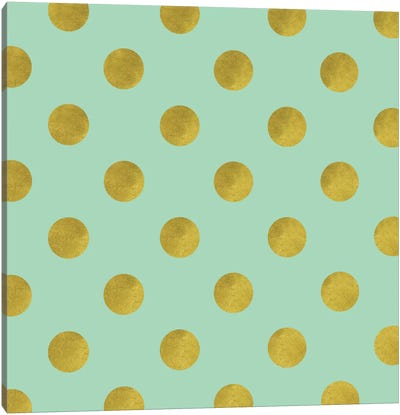 Golden Mint Dots Canvas Art Print