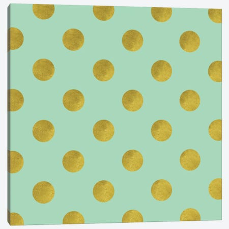 Golden Mint Dots Canvas Print #TLA11} by Tina Lavoie Canvas Art Print