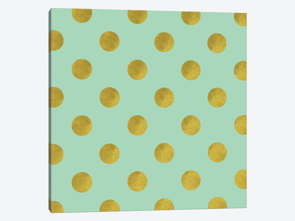 Golden Mint Dots by Tina Lavoie 1-piece Canvas Wall Art