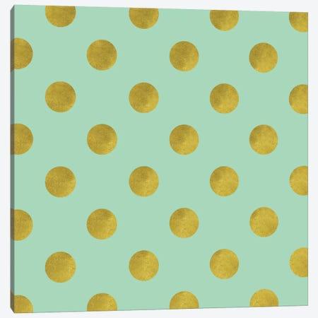 Golden Mint Dots Canvas Print #TLA11} by Tina Lavoie Canvas Art Print
