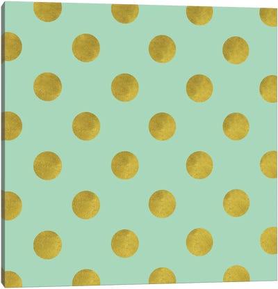 Golden Mint Dots Canvas Art Print