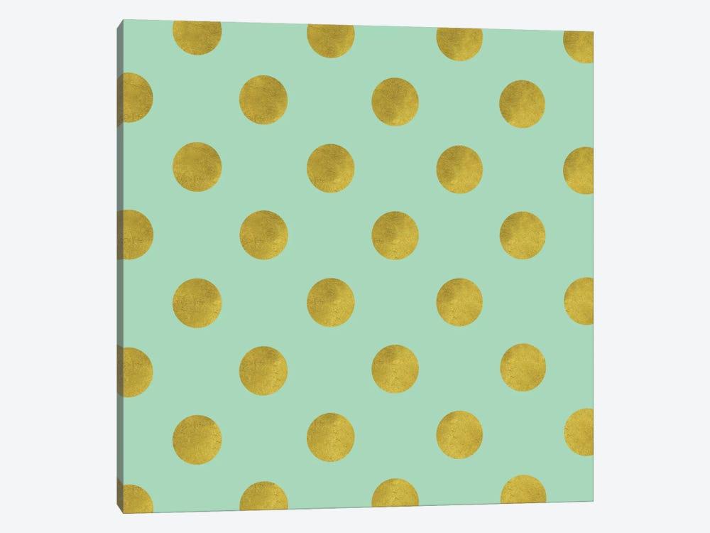 Golden Mint Dots by Tina Lavoie 1-piece Canvas Wall Art