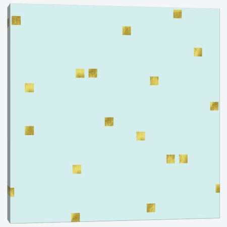Pale Aqua Golden Squares Confetti Canvas Print #TLA16} by Tina Lavoie Canvas Artwork