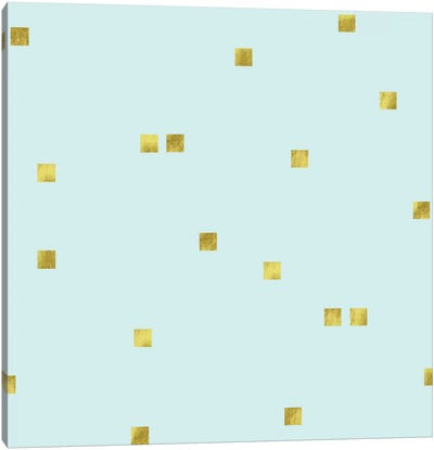 Pale Aqua Golden Squares Confetti Canvas Art Print
