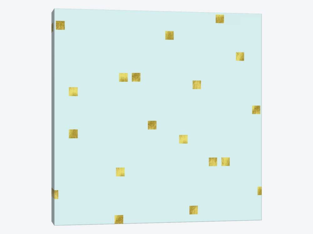 Pale Aqua Golden Squares Confetti by Tina Lavoie 1-piece Canvas Art Print