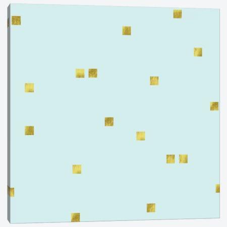 Pale Aqua Golden Squares Confetti Canvas Print #TLA16} by Tina Lavoie Canvas Artwork