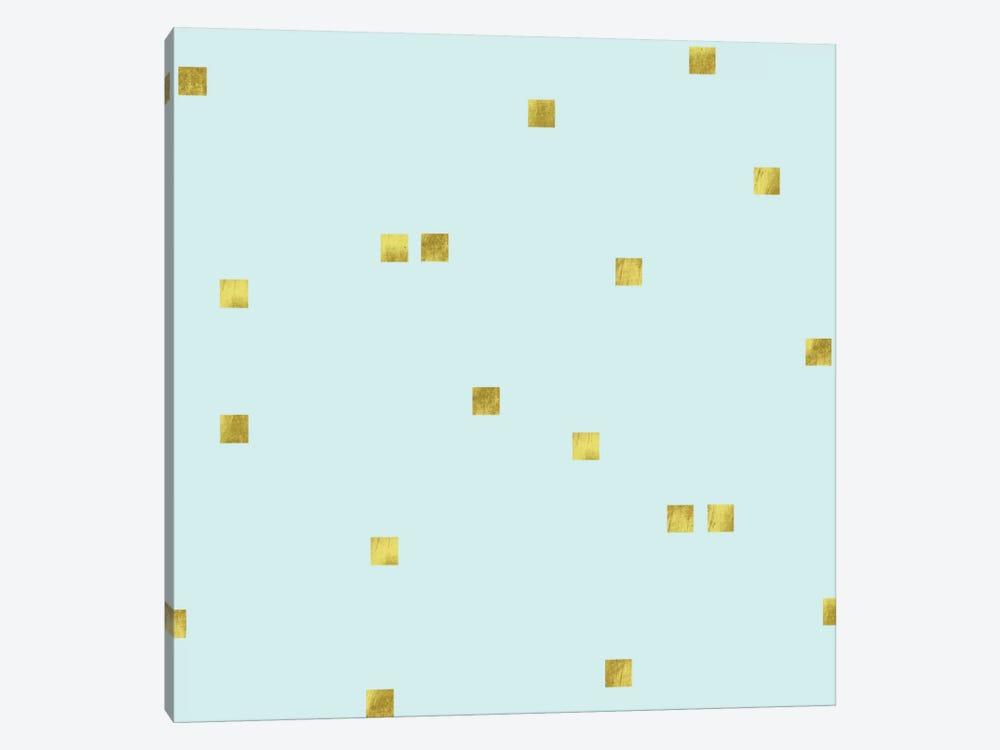 Pale Aqua Golden Squares Confetti by Tina Lavoie 1-piece Canvas Art Print