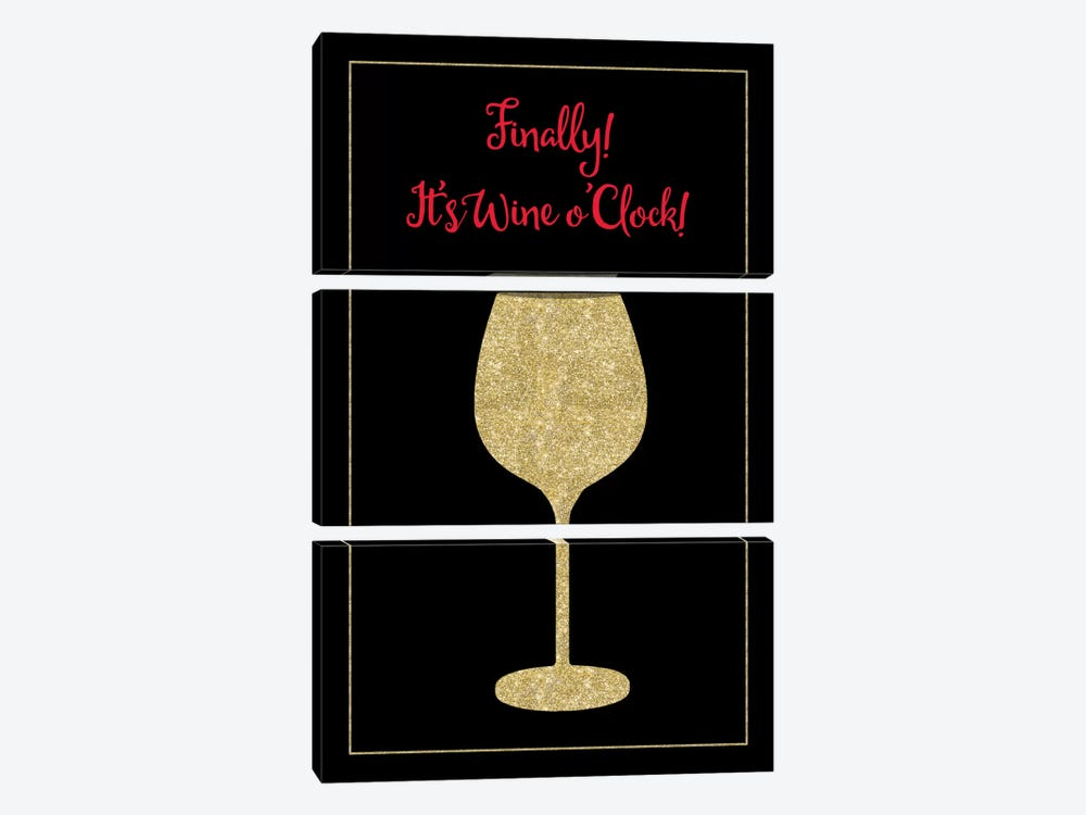 Wine O Clock by Tina Lavoie 3-piece Canvas Print