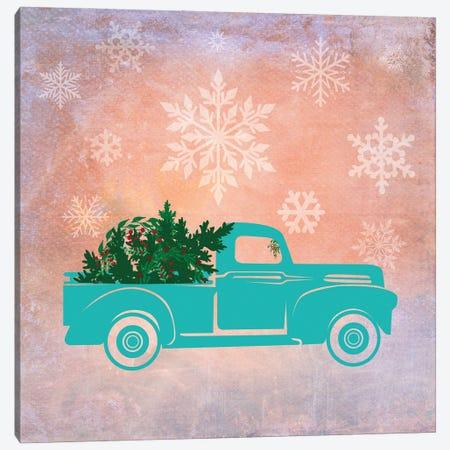 Teal Christmas Truck Canvas Print #TLA19} by Tina Lavoie Canvas Art Print